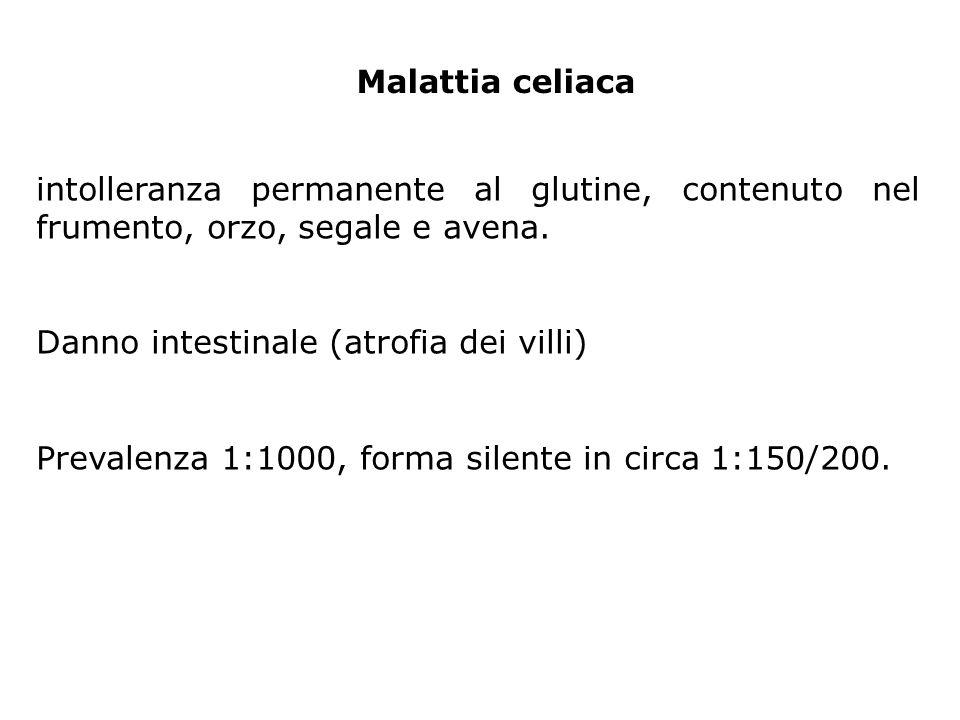 Malattia celiaca intolleranza permanente al glutine, contenuto nel frumento, orzo, segale e avena. Danno intestinale (atrofia dei villi)