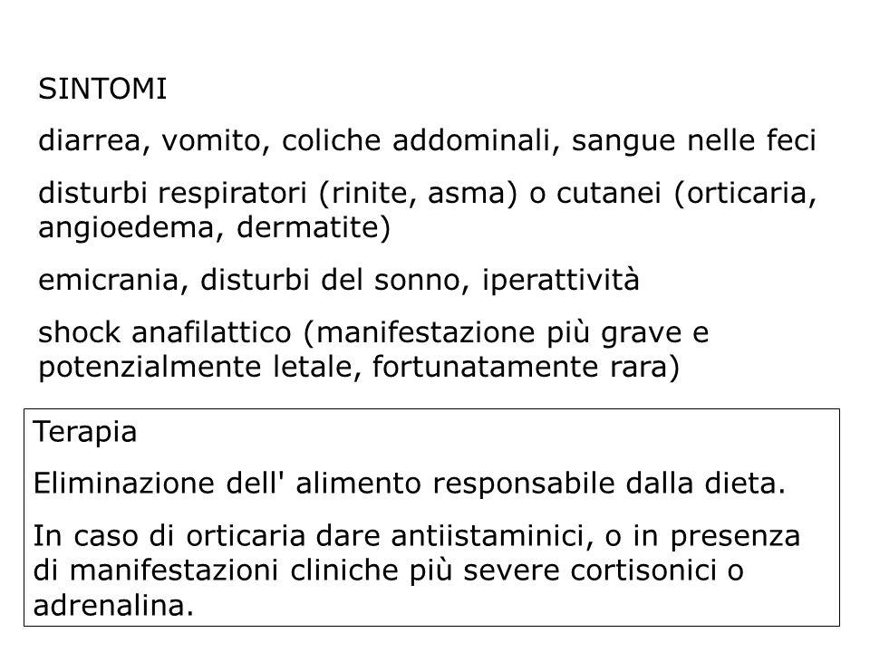 SINTOMI diarrea, vomito, coliche addominali, sangue nelle feci. disturbi respiratori (rinite, asma) o cutanei (orticaria, angioedema, dermatite)