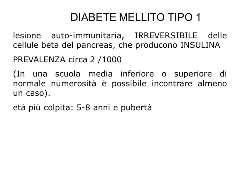 DIABETE MELLITO TIPO 1 lesione auto-immunitaria, IRREVERSIBILE delle cellule beta del pancreas, che producono INSULINA.