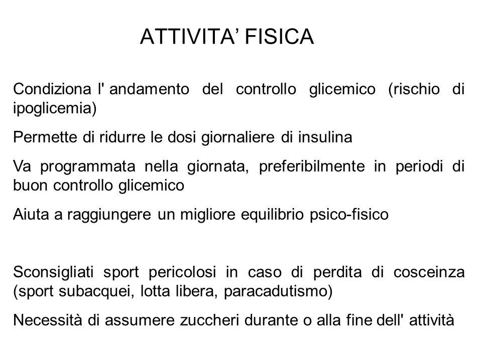 ATTIVITA' FISICA Condiziona l andamento del controllo glicemico (rischio di ipoglicemia) Permette di ridurre le dosi giornaliere di insulina.