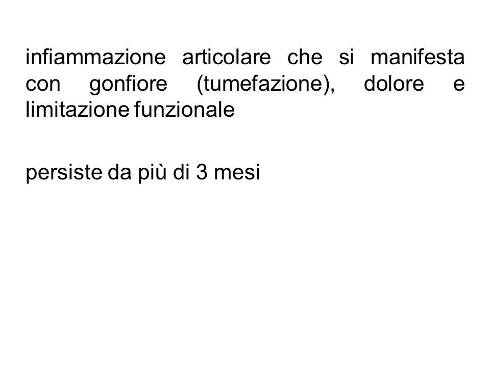 infiammazione articolare che si manifesta con gonfiore (tumefazione), dolore e limitazione funzionale