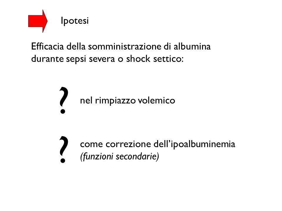 Ipotesi Efficacia della somministrazione di albumina durante sepsi severa o shock settico: nel rimpiazzo volemico.