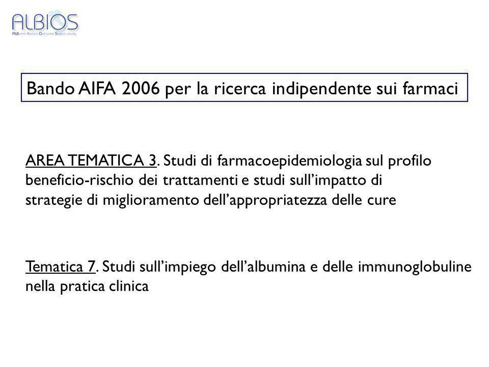 Bando AIFA 2006 per la ricerca indipendente sui farmaci