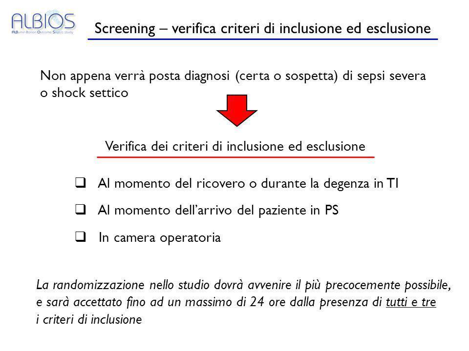Screening – verifica criteri di inclusione ed esclusione