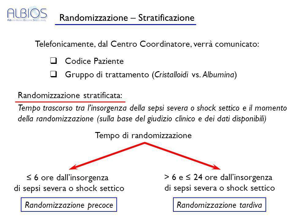 Randomizzazione – Stratificazione