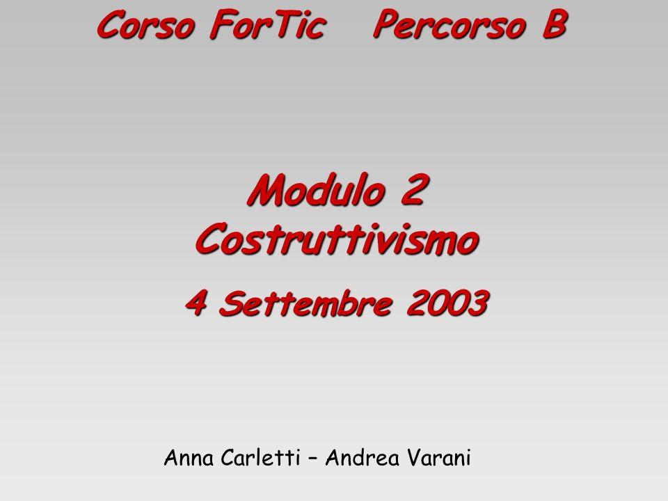 Corso ForTic Percorso B Modulo 2 Costruttivismo