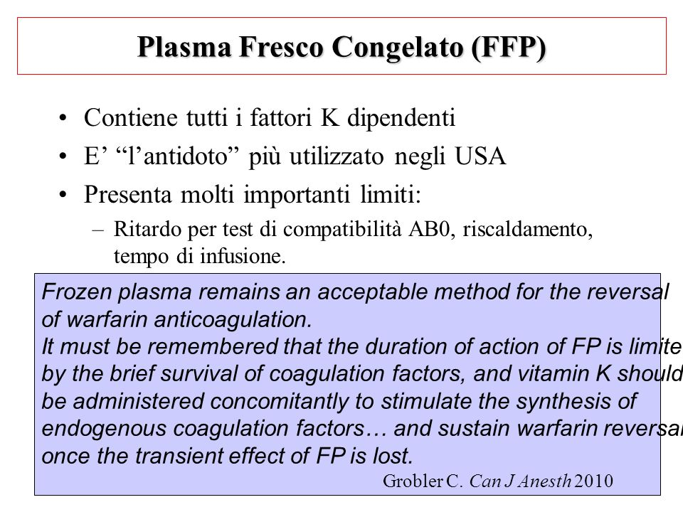 Plasma Fresco Congelato (FFP)
