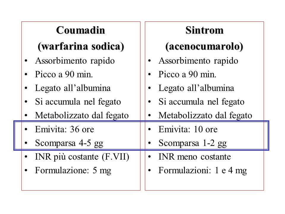 Coumadin (warfarina sodica) Sintrom (acenocumarolo)