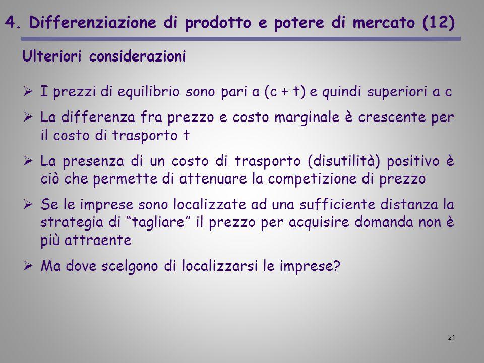 4. Differenziazione di prodotto e potere di mercato (12)