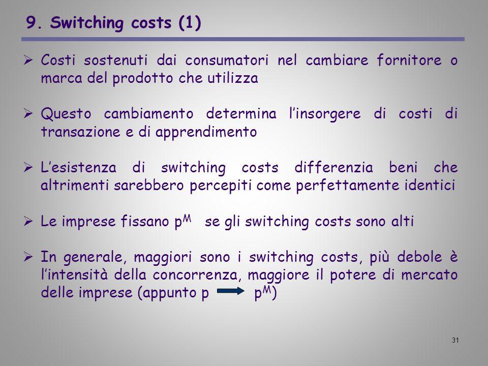 9. Switching costs (1) Costi sostenuti dai consumatori nel cambiare fornitore o marca del prodotto che utilizza.