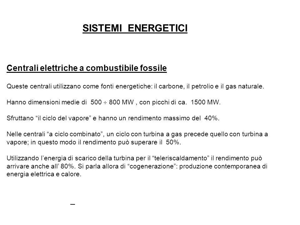 SISTEMI ENERGETICI Centrali elettriche a combustibile fossile