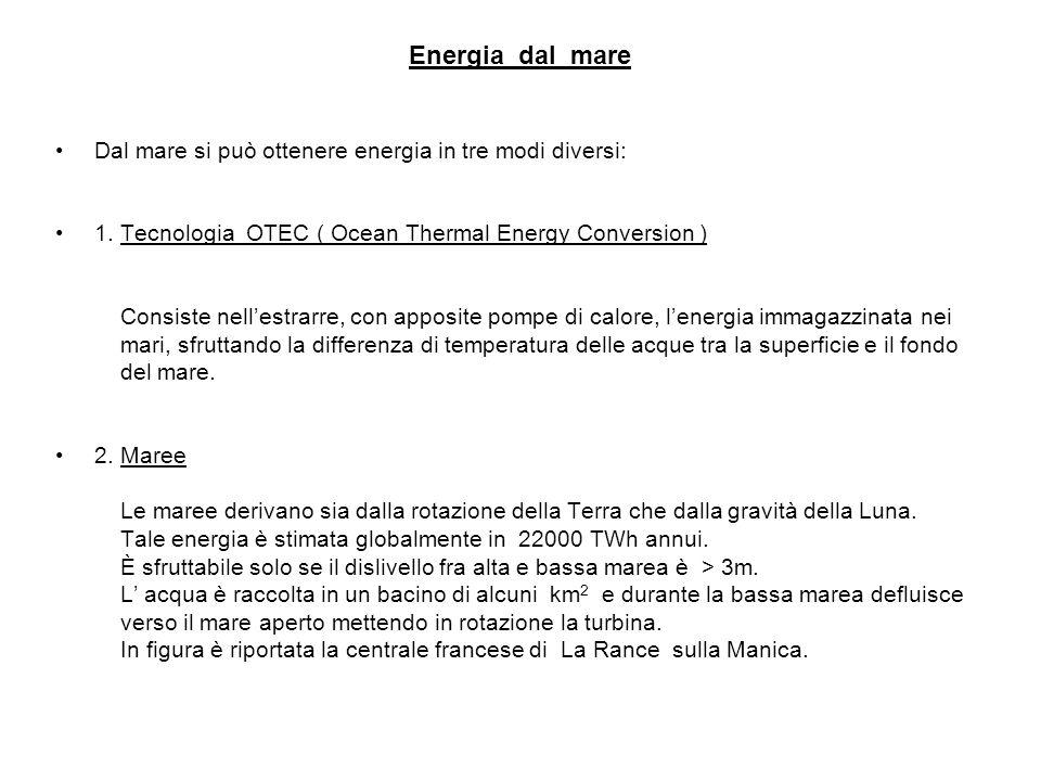 Energia dal mare Dal mare si può ottenere energia in tre modi diversi: