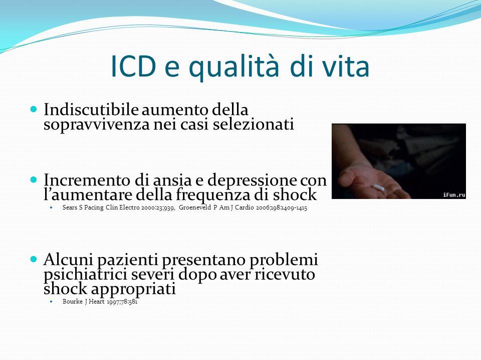 ICD e qualità di vita Indiscutibile aumento della sopravvivenza nei casi selezionati.
