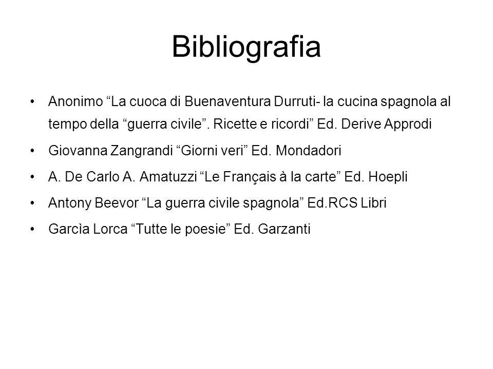 BibliografiaAnonimo La cuoca di Buenaventura Durruti- la cucina spagnola al tempo della guerra civile . Ricette e ricordi Ed. Derive Approdi.
