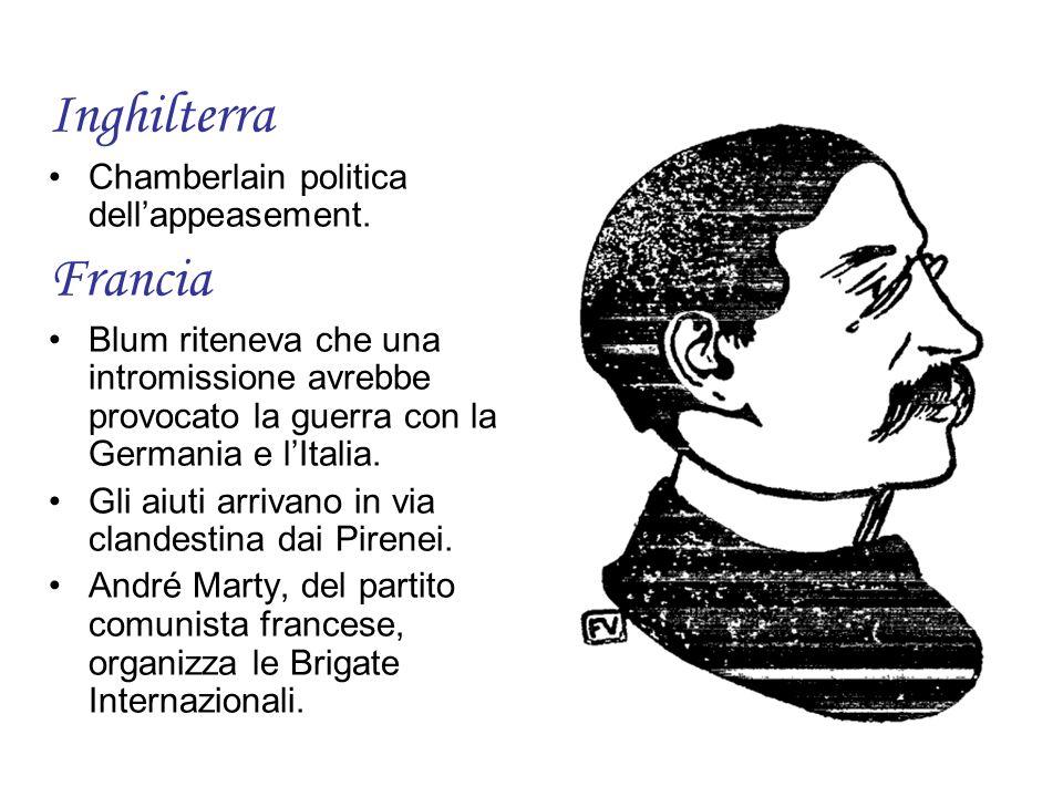 Inghilterra Francia Chamberlain politica dell'appeasement.