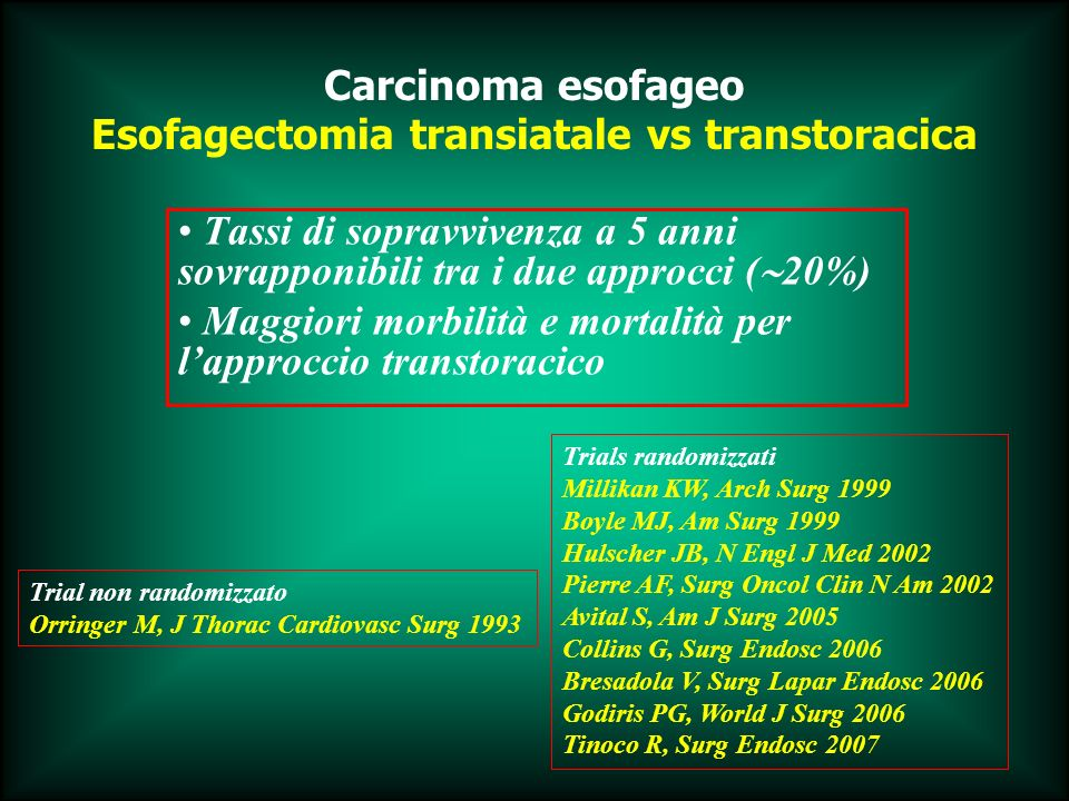 Esofagectomia transiatale vs transtoracica