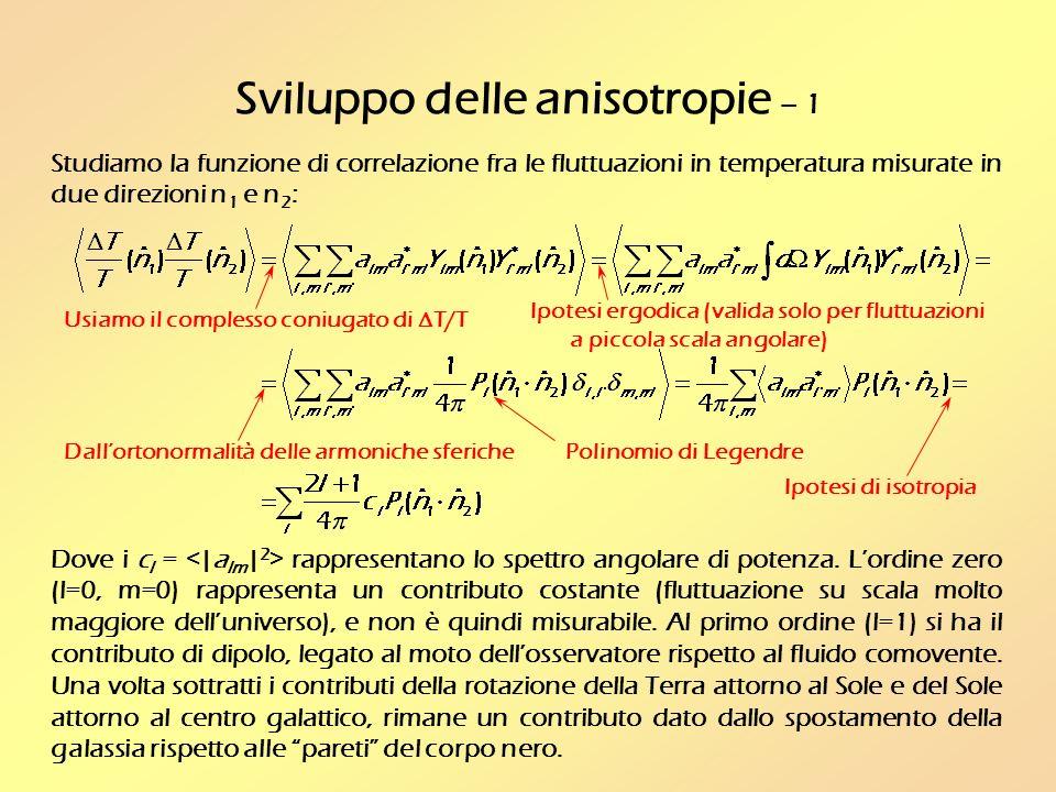 Sviluppo delle anisotropie – 1