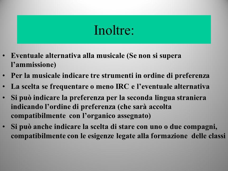 Inoltre: Eventuale alternativa alla musicale (Se non si supera l'ammissione) Per la musicale indicare tre strumenti in ordine di preferenza.