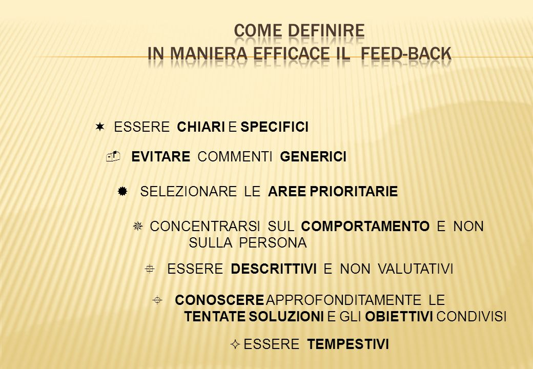 COME DEFINIRE IN MANIERA EFFICACE IL FEED-BACK