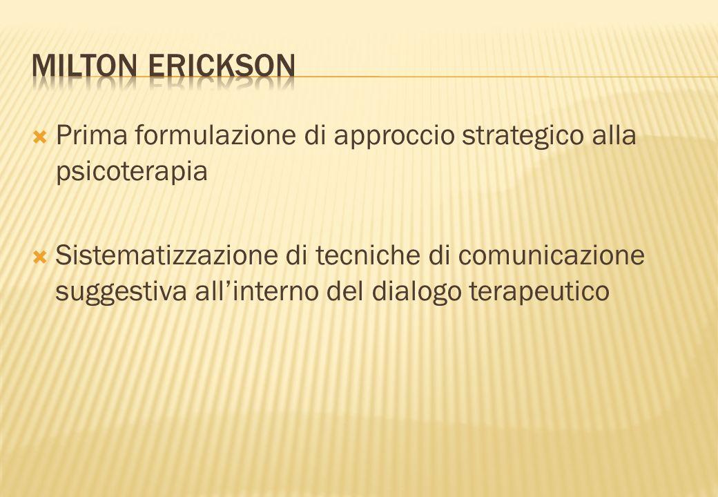 MILTON ERICKSON Prima formulazione di approccio strategico alla psicoterapia.