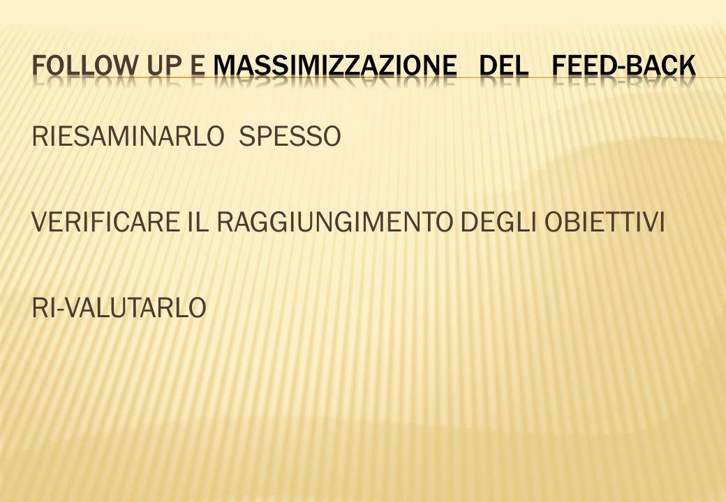 FOLLOW UP E MASSIMIZZAZIONE DEL FEED-BACK