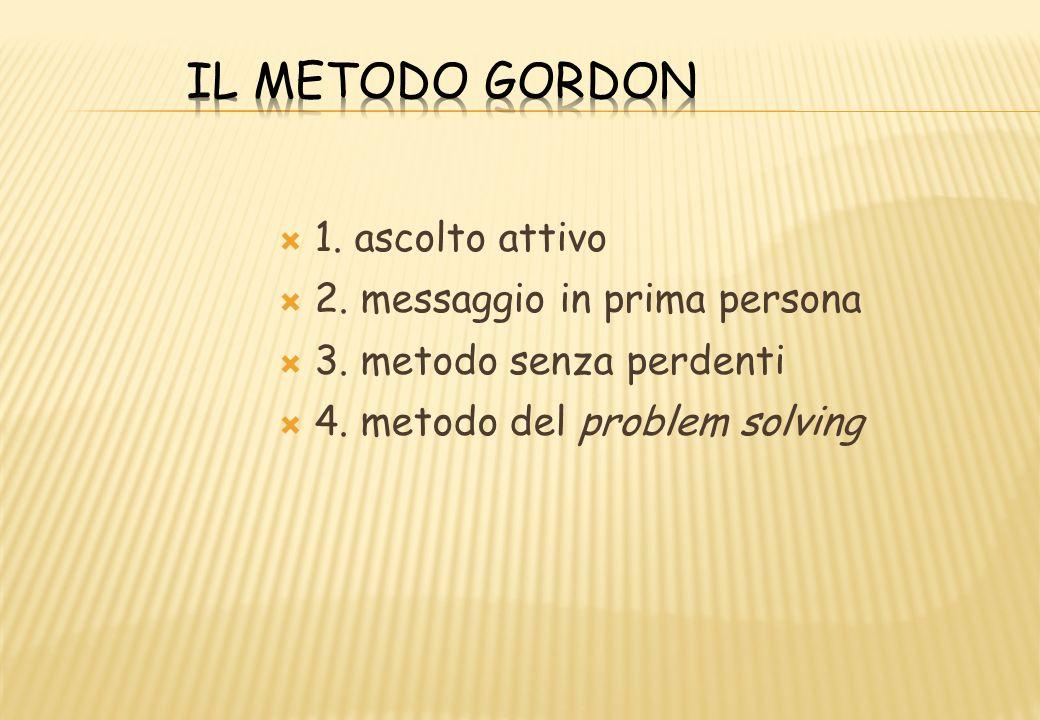 Il metodo Gordon 1. ascolto attivo 2. messaggio in prima persona