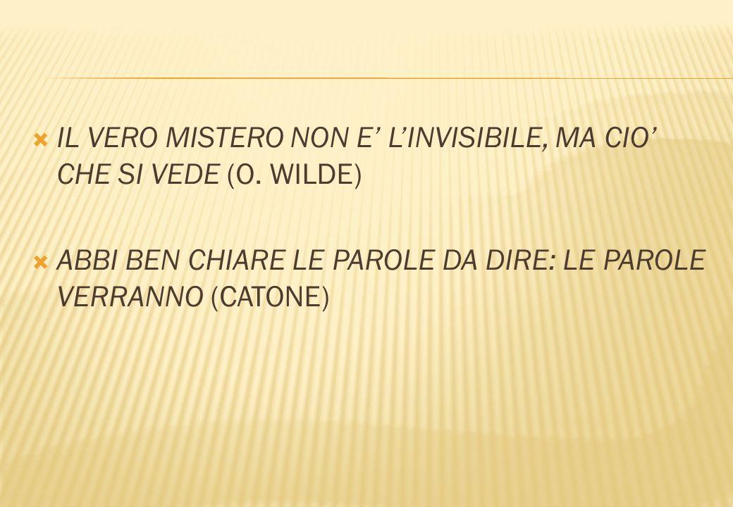 IL VERO MISTERO NON E' L'INVISIBILE, MA CIO' CHE SI VEDE (O. WILDE)