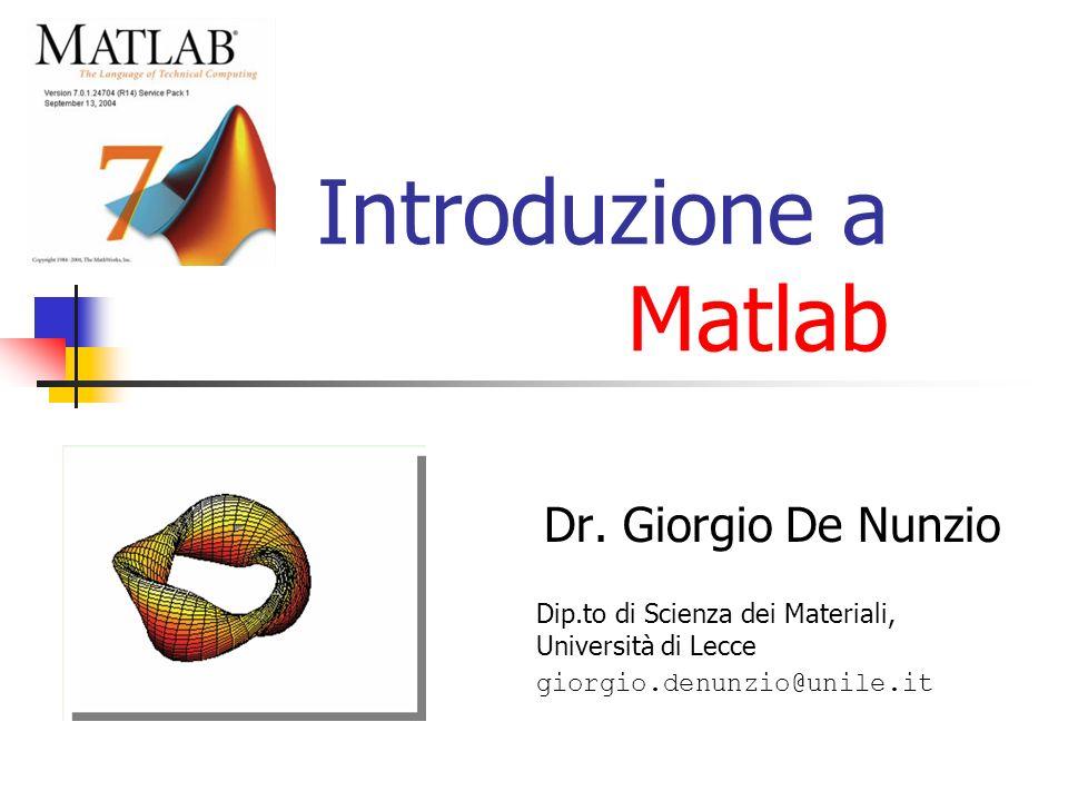 Introduzione a Matlab Dr. Giorgio De Nunzio