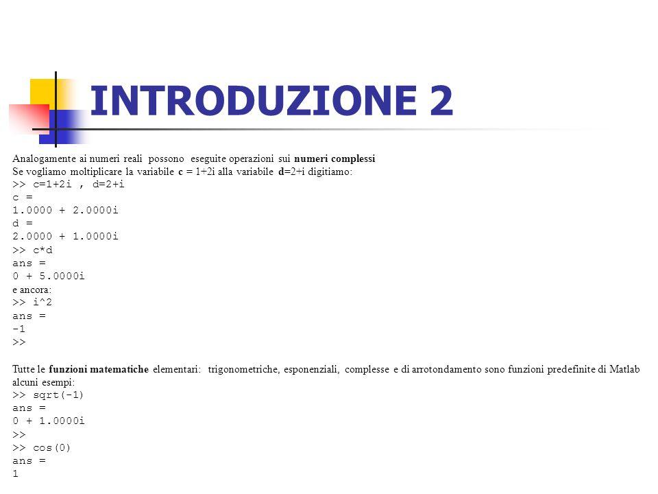 INTRODUZIONE 2 Analogamente ai numeri reali possono eseguite operazioni sui numeri complessi.