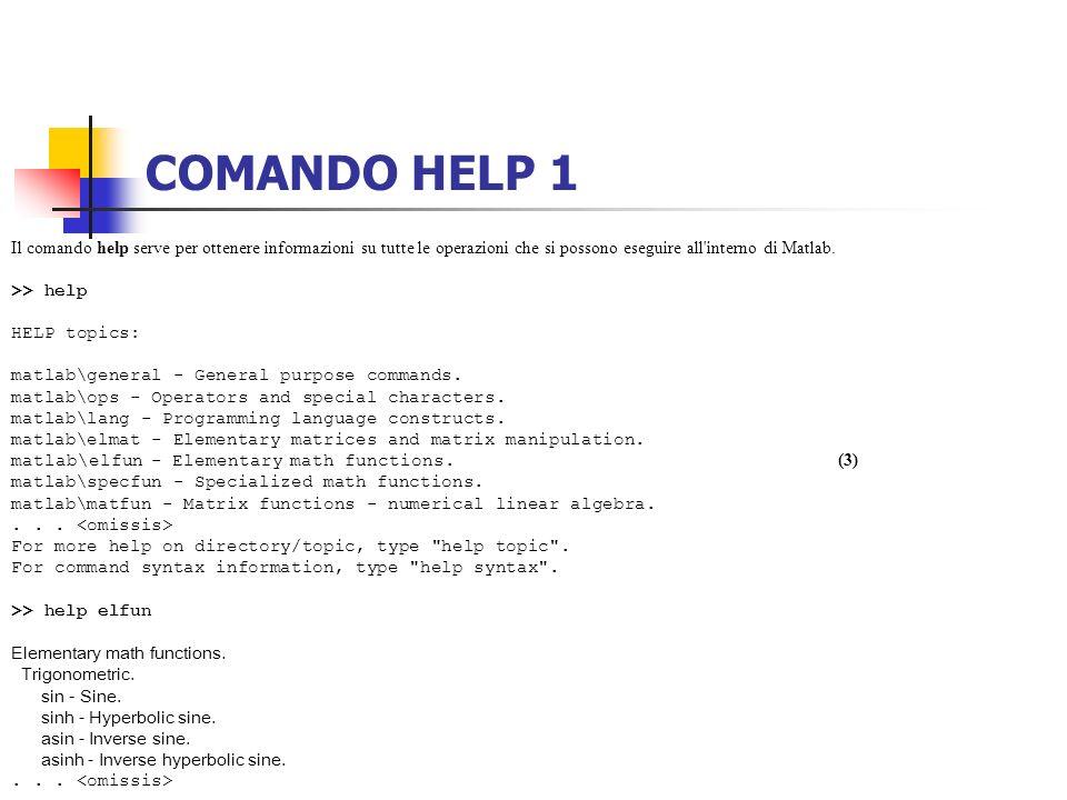 COMANDO HELP 1 Il comando help serve per ottenere informazioni su tutte le operazioni che si possono eseguire all interno di Matlab.