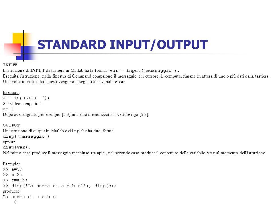 STANDARD INPUT/OUTPUT