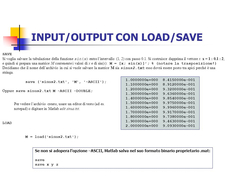 INPUT/OUTPUT CON LOAD/SAVE