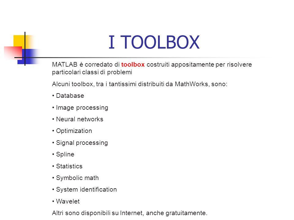 I TOOLBOX MATLAB è corredato di toolbox costruiti appositamente per risolvere particolari classi di problemi.