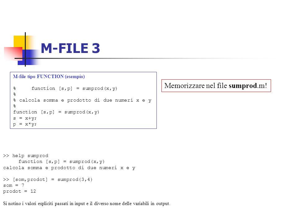 M-FILE 3 Memorizzare nel file sumprod.m!