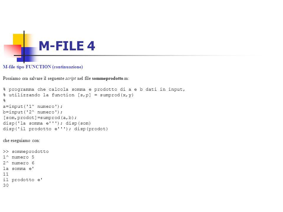 M-FILE 4 M-file tipo FUNCTION (continuazione)