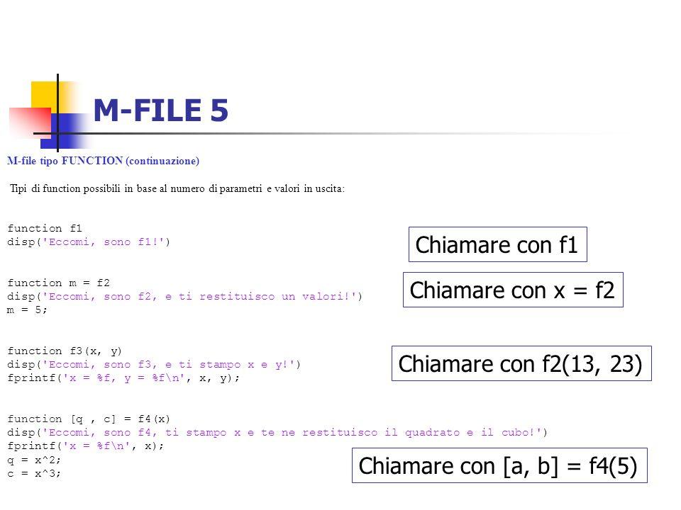 M-FILE 5 Chiamare con f1 Chiamare con x = f2 Chiamare con f2(13, 23)