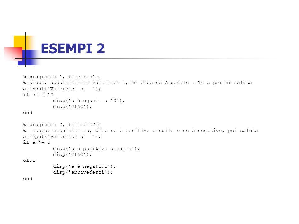 ESEMPI 2 % programma 1, file pro1.m