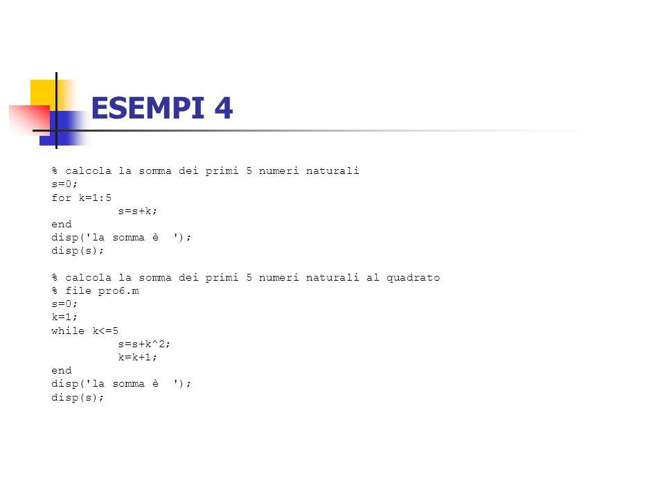 ESEMPI 4 % calcola la somma dei primi 5 numeri naturali s=0; for k=1:5