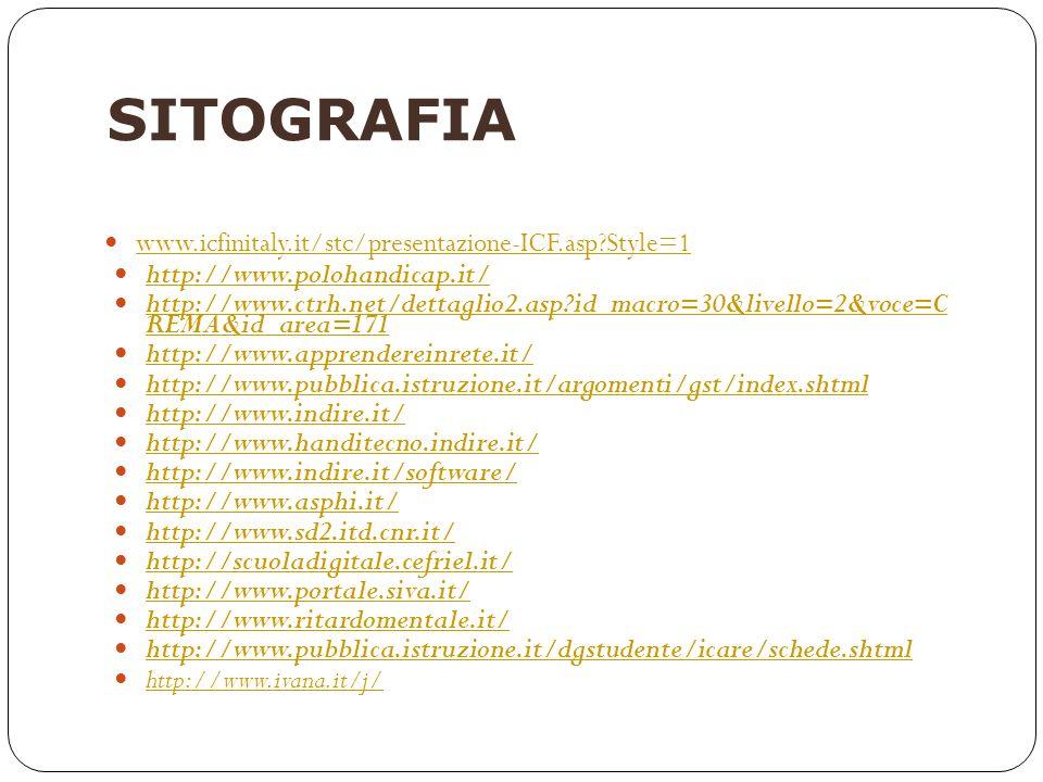 SITOGRAFIA www.icfinitaly.it/stc/presentazione-ICF.asp Style=1