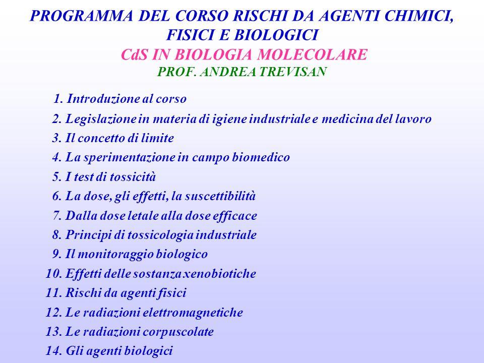 PROGRAMMA DEL CORSO RISCHI DA AGENTI CHIMICI, FISICI E BIOLOGICI CdS IN BIOLOGIA MOLECOLARE PROF. ANDREA TREVISAN