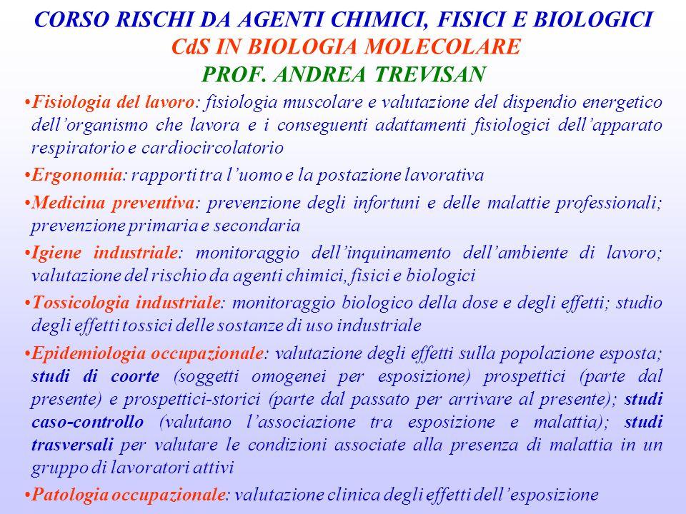 CORSO RISCHI DA AGENTI CHIMICI, FISICI E BIOLOGICI CdS IN BIOLOGIA MOLECOLARE PROF. ANDREA TREVISAN