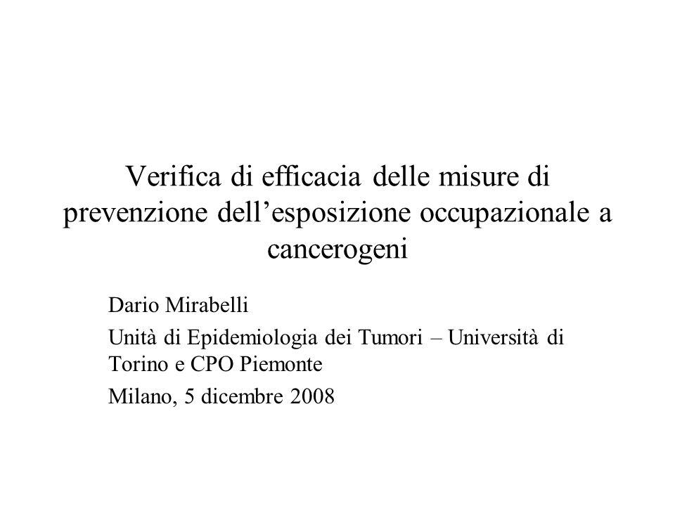 Verifica di efficacia delle misure di prevenzione dell'esposizione occupazionale a cancerogeni