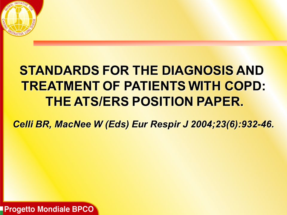 STANDARDS FOR THE DIAGNOSIS AND TREATMENT OF PATIENTS WITH COPD: