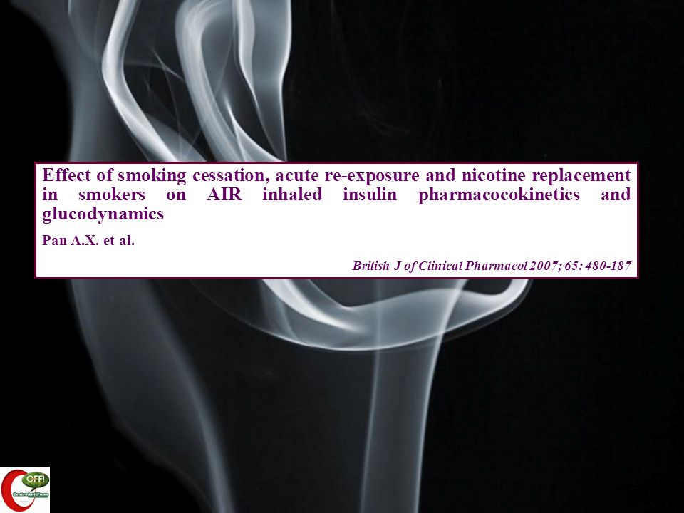 Effect of smoking cessation, acute re-exposure and nicotine replacement in smokers on AIR inhaled insulin pharmacocokinetics and glucodynamics