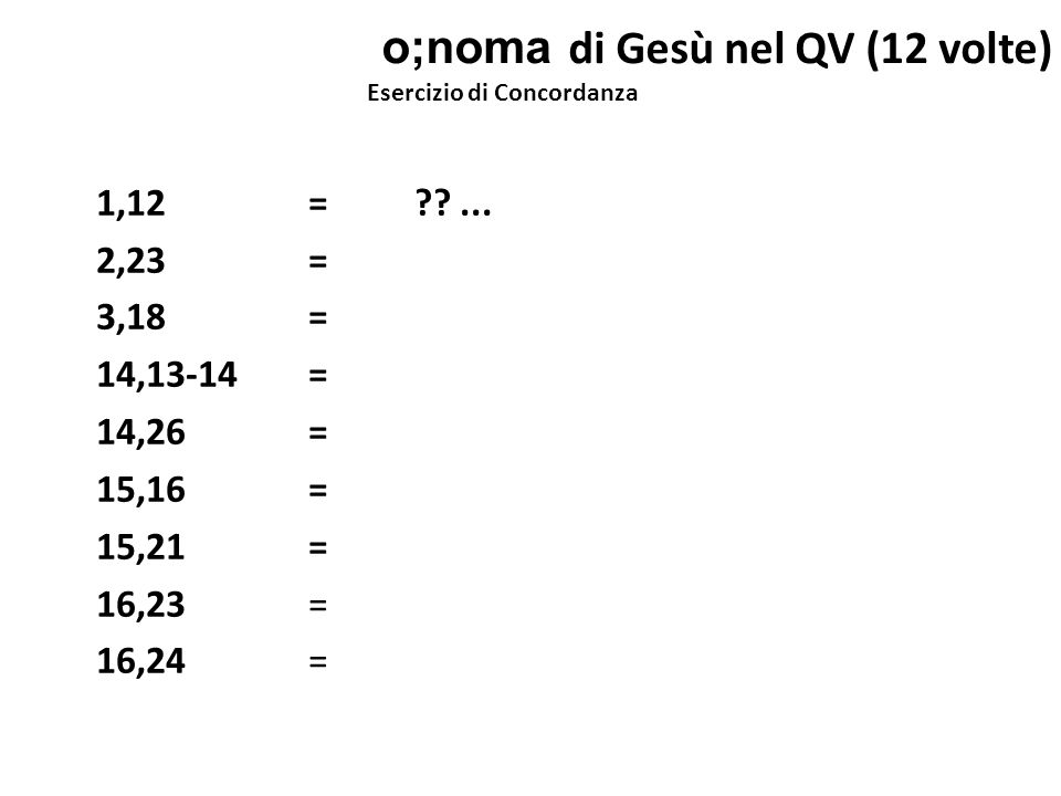 o;noma di Gesù nel QV (12 volte)