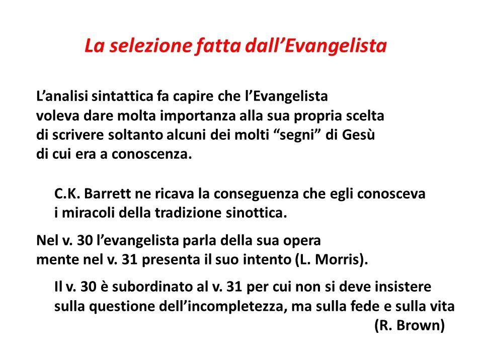 La selezione fatta dall'Evangelista