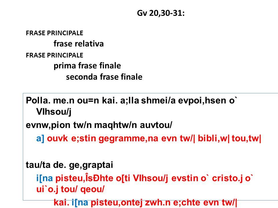 Gv 20,30-31: frase principale. frase relativa. prima frase finale. seconda frase finale.