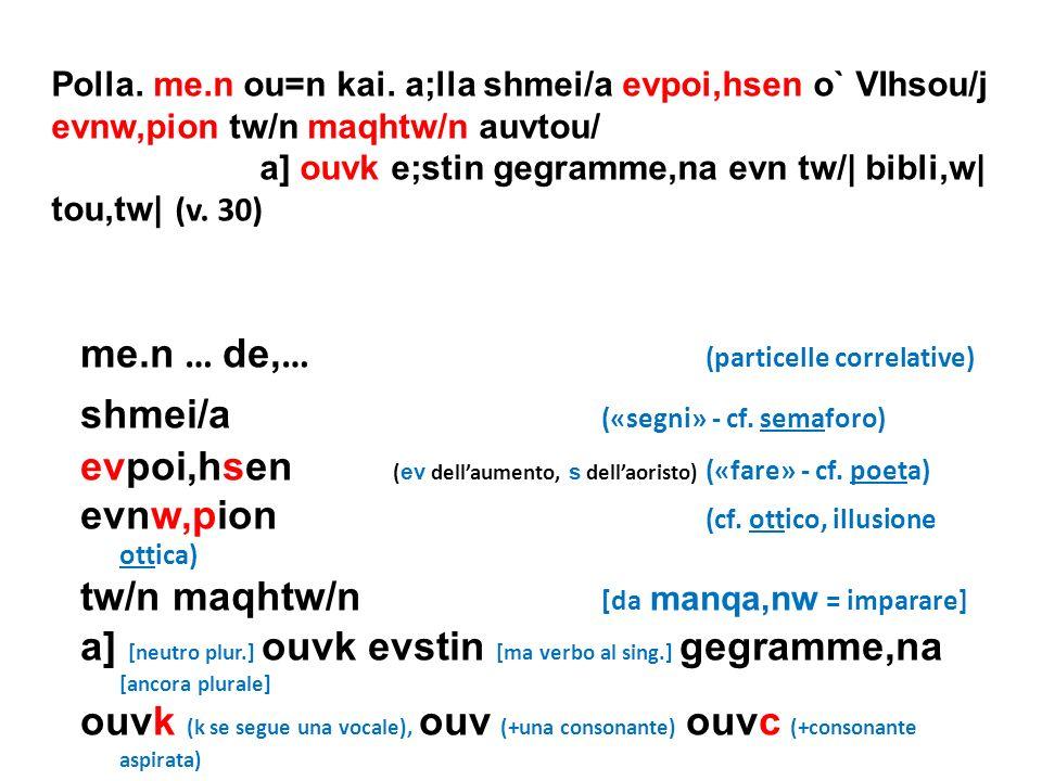 Polla. me.n ou=n kai. a;lla shmei/a evpoi,hsen o` VIhsou/j