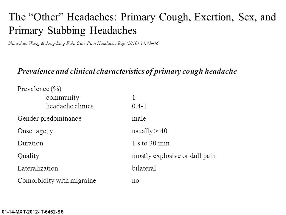 The Other Headaches: Primary Cough, Exertion, Sex, and Primary Stabbing Headaches
