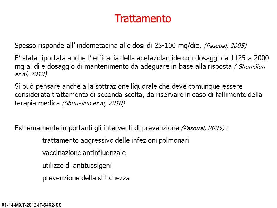 Trattamento Spesso risponde all' indometacina alle dosi di 25-100 mg/die. (Pascual, 2005)
